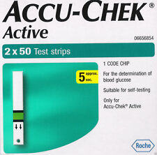 100 Test Diabetic Strips for Glucometer Accu-Chek Active, Sugar, WITH FREE SHIPP