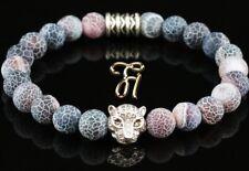 Agate Rouge Coloré - Argenté Tête de Tigre - Bracelet Bracelet de Perles