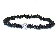 Schwarzer Turmalin kleiner Buddha Splitterarmband Armband handarbeit ABE67SBK