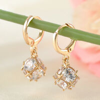 Elegant Gold Filled Crystal Zircon Ball Dangle Charm Hoop Earrings Wedding