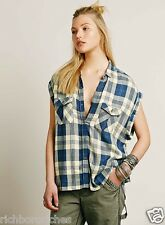 NEW Free People blue yellow Oversize Cap Sleeve Plaid Button-down Top XS