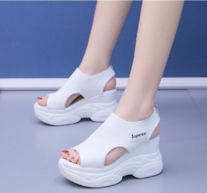 Women's Shoes Thick Bottom Slope Heel Sandals High Heels All-around Muffin