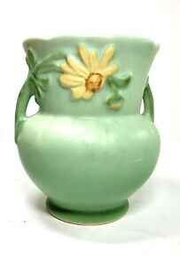 Vintage Weller Yellow Daisy Vase Double Handled Green
