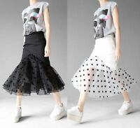 Designer Fit Flare Pencil Tutu Skirt Polka Dot Tulle Peplum Hem Colour Contrast