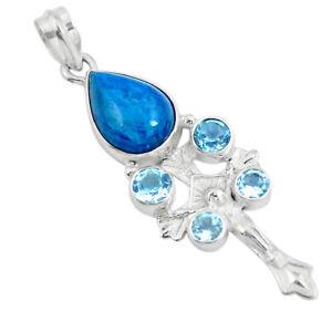 Natural Blue Apatite (madagascar) 925 Silver Holy Cross Pendant D30643