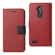 REIKO 3-IN-1 FLIP COVER WALLET PHONE CASE FOR ZTE MAX XL/ N9560 IN RED & BLACK
