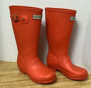 Hunter Original Orange Matte Rubber Boots Youth sz 2