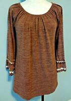 WIN WIN Womens Size S/M Brown Sweater Tunic Double Lace Long Bell Sleeves Boho
