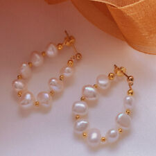 Natural Baroque white pearl wreath earrings Holiday gifts 18KGB Dangle Wedding