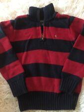 Polo Ralph Lauren Boys Sz 5 1/4 Zip Navy Blue Red Striped Sweater Euc A32