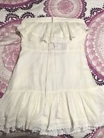 Urban Outfitters NEW Cream Ivory Strapless ruffle Dress Size Large