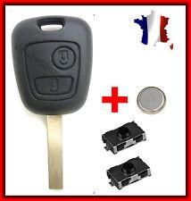 Coque PLIP Clé Télécommande Peugeot 106 107 207 307 + 2 Switch Bouton + Pile
