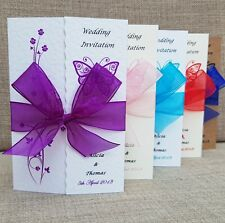 50 Gatefold Wedding Invitations- Loads of Designs and Ribbon colours!