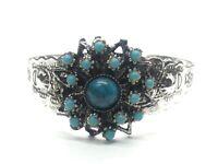 "Vintage Bracelet 6"" Cuff Silver Tone Flower Lucite Blue Cluster Southwest"