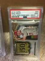 2019 Topps 150th Anniv Comm Medallion MT Mike Trout Gold [PSA 9]  #32/50