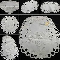 Winter Landscape Doily Tablecloth Table runner Christmas White Silver Embroidery