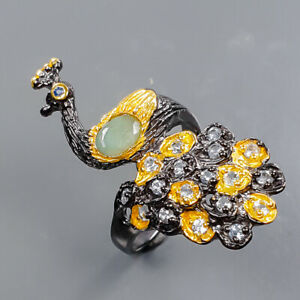 Handmade Ring Emerald Ring Silver 925 Sterling  Size 8.25 /R178593