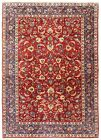 Hand Knotted Wool Red Navy Floral Fine Isfahann Oriental Rug Carpet 10 x 16