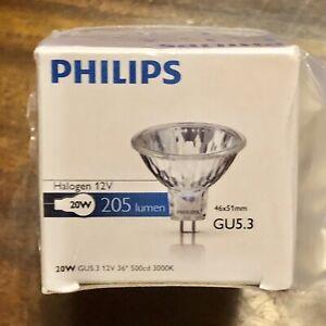 6 x Philips 20W 12V GU5.3 MR16 36 deg Closed Halogen Dichroic Light Bulb New