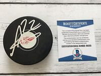 Andreas Athansiou Signed Detroit Red Wings Puck Beckett BAS COA Autographed b