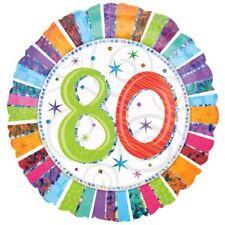 Radiant ANNIVERSAIRE 80 Ballon PLAT MULTICOLORE RAYURES Décoration de fête