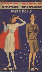 VINTAGE UNCUT 1942 WAR GIRLS PAPER DOLLS LOWE~8x11 SZ~LASR REPRODUCTION NO1 SELR