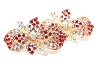 2 pieces small Barrette red Rhinestones Crystal Metal flowers hair claws clip