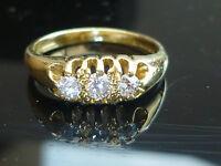 Stunning 18ct gold 0.30ct old cut diamond 3 stone ring HIGH QUALITY DIAMOND