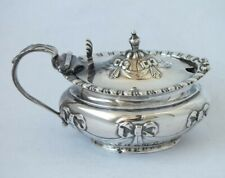 """Antique """"Swags"""" Solid Sterling Silver Mustard Pot 1901/ L 8.5 cm/ 61 g"""