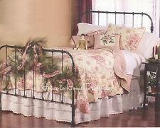 FRENCH COUNTRY RED ROSE Full Queen QUILT SET : COTTAGE SHABBY CREAM COMFORTER
