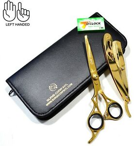 Professional Hairdressing Scissor Barber Haircutting Gold LEFT HANDED with Razor