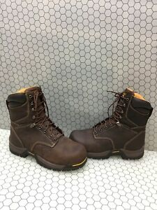 CAROLINA Brown Leather COMP Toe Insulated Waterproof Work Boots Men's Size 8.5EE