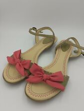 Vintage Clarks UK 4 Green and Pink Sandals Bow Strappy Kitten Heels