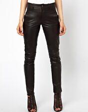 Women's Real Lamb Leather Slim Fit Pants Pants Slim Fit Trousers