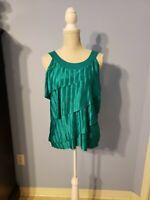 I.N. Studio Womens Green Sleeveless Blouse Size Large