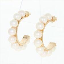 Cultured Pearl Half-Hoop Earrings - 14k Yellow Gold Pierced