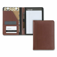 Samsill Contrast Stitch Leather Padfolio, 6 1/4W X 8 3/4H, Open Style, Brown