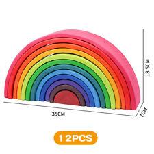 12pcs Wood Rainbow Building Blocks DIY Educational Toys for Children Kids
