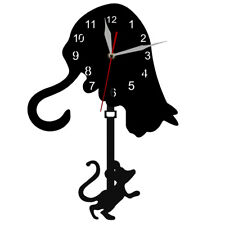 Cat Catch Mouse Pendulum Wall Clock Cat and Mouse Game Clock Kitty Lover Gift