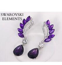 longues boucles d'oreilles Swarovski® Elements larme luxe design vintage VIOLET