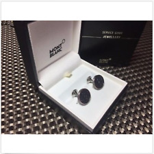 $345 MONTBLANC Monograin Steel Cuff Links with Leather Inlay