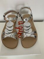 Girls Sandals Size 11.5 Silver Leather Strappy Easy Hook Fastening RRP £168 NEW