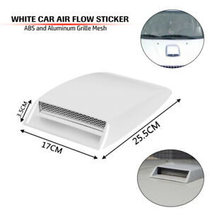 Car Truck SUV Hood Air Flow Intake Vent Front Grille Deco Cover 3D Styling White