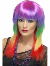 Rainbow Long Rocker Wig Ladies Fancy Dress Multi Coloured Neon Hen Night Party