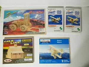 Wooden Puzzles (Lot of 5) aircraft forklift farm barn all new