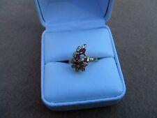 vintage estate 14k yellow gold ruby & diamond ring size 6 fine jewelry