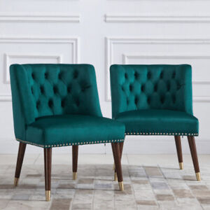Set of 2 Solid Wood Legs Upholstered Accent Chair with Tufted Back and Seat