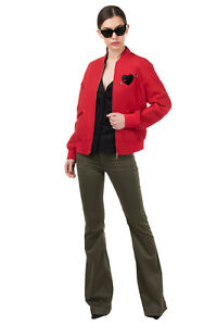 RRP€1790 VALENTINO Bomber Jacket Size 38 / XS Wool Blend Embellished Heart Patch
