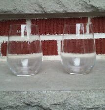 """Set of 2 Riedel """"O"""" Stemless Crystal White Wine Glasses"""