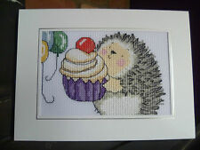 """Completed Cross Stitch  Birthday Occasions Hedgehog Card Hand Made  8"""" X 6"""""""
